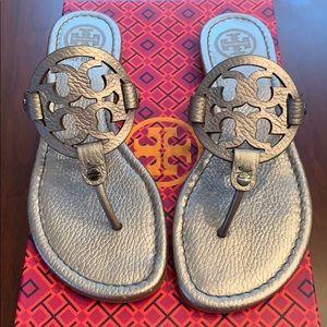 Tory Burch Miller Metallic Leather Sandal sz6